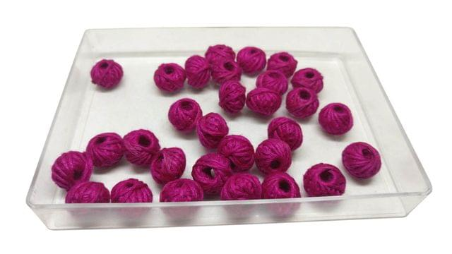 Handmade Cotton Thread Beads Ball For Jewellery Making 13x10mm Drum (Pack of 50 pieces) [Color 2-> Dark Pink]