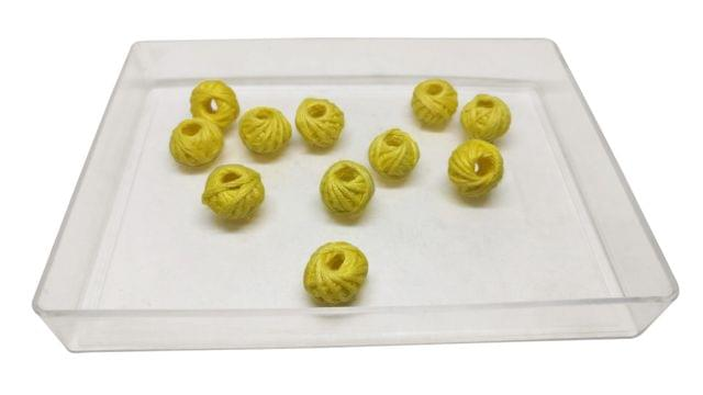 Handmade Cotton Thread Beads Ball For Jewellery Making 13x10mm Drum (Pack of 50 pieces) [Color 4-> Yellow]