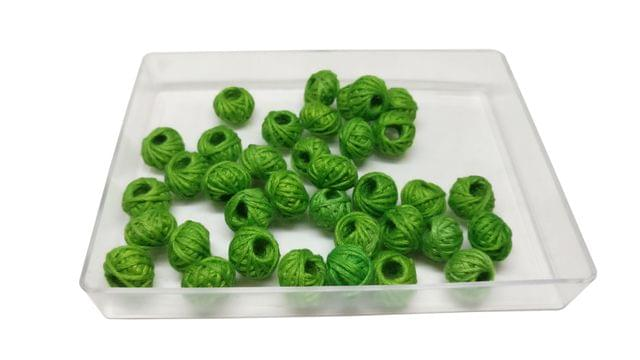 Handmade Cotton Thread Beads Ball For Jewellery Making 13x10mm Drum (Pack of 50 pieces) [Color 5-> Green]