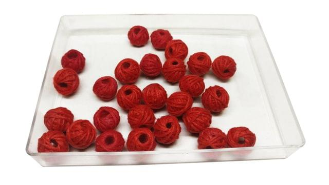 Handmade Cotton Thread Beads Ball For Jewellery Making 13x10mm Drum (Pack of 50 pieces) [Color 7-> Red]