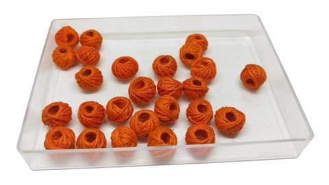 Aumni Crafts Handmade Cotton Thread Beads Ball For Jewellery Making 13x10mm Drum (Pack of 50 pieces) [Color 9-> Orange]