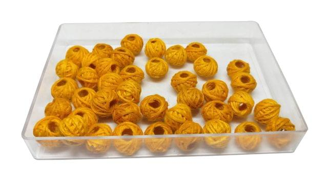 Handmade Cotton Thread Beads Ball For Jewellery Making 13x10mm Drum (Pack of 50 pieces) [Color 10-> Light Orange ]