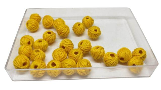 Handmade Cotton Thread Beads Ball For Jewellery Making 13x10mm Drum (Pack of 50 pieces) [Color 11-> Yellow]