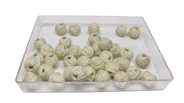 Handmade Cotton Thread Beads Ball For Jewellery Making 13x10mm Drum (Pack of 50 pieces) [Color 13-> Cream White]