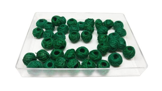 Handmade Cotton Thread Beads Ball For Jewellery Making 13x10mm Drum (Pack of 50 pieces) [Color 14-> Dark Green]