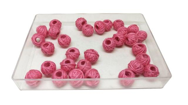 Handmade Cotton Thread Beads Ball For Jewellery Making 13x10mm Drum (Pack of 50 pieces) [Color 17-> Pink]