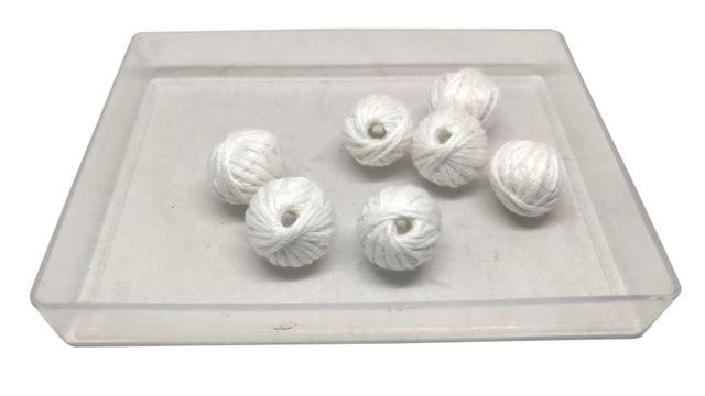 Aumni Crafts Handmade Cotton Thread Beads Ball For Jewellery Making 13x10mm Drum (Pack of 50 pieces) [Color 22-> White]