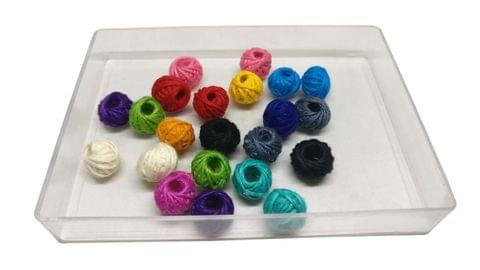 Aumni Crafts Jewellery Making Handmade Cotton Thread Beads Ball 13x10mm Drum Assorted Color Mix (Pack of 100 pieces)
