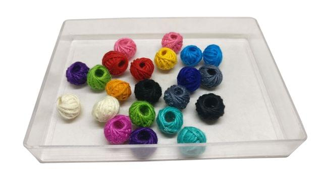 Jewellery Making Handmade Cotton Thread Beads Ball 13x10mm Drum Assorted Color Mix (Pack of 100 pieces)