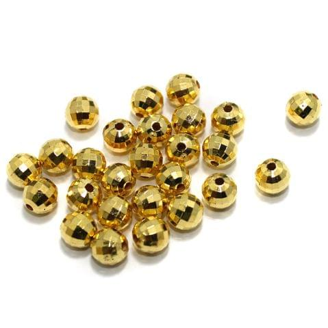 100 gm Acrylic Round Faceted Beads Golden 8mm