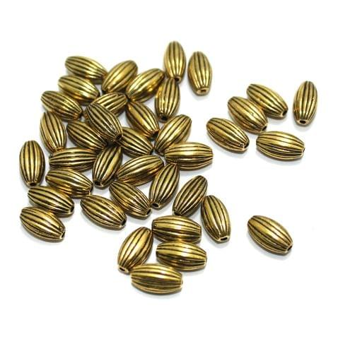 100 gm Acrylic Oval Liner Beads Golden 11x6mm
