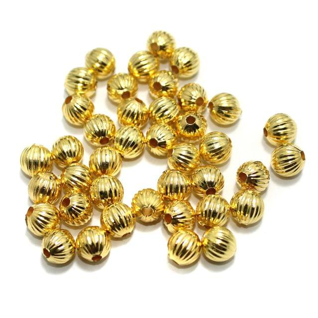 100 gm Acrylic Round Melan Beads Golden 8mm