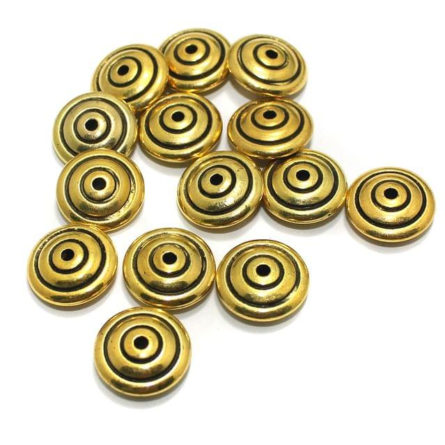 100 gm Acrylic Round Disc Beads Golden 16x6mm