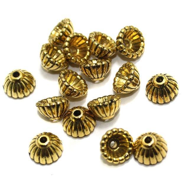 200 Pcs Acrylic Bead Caps Golden 9x5mm