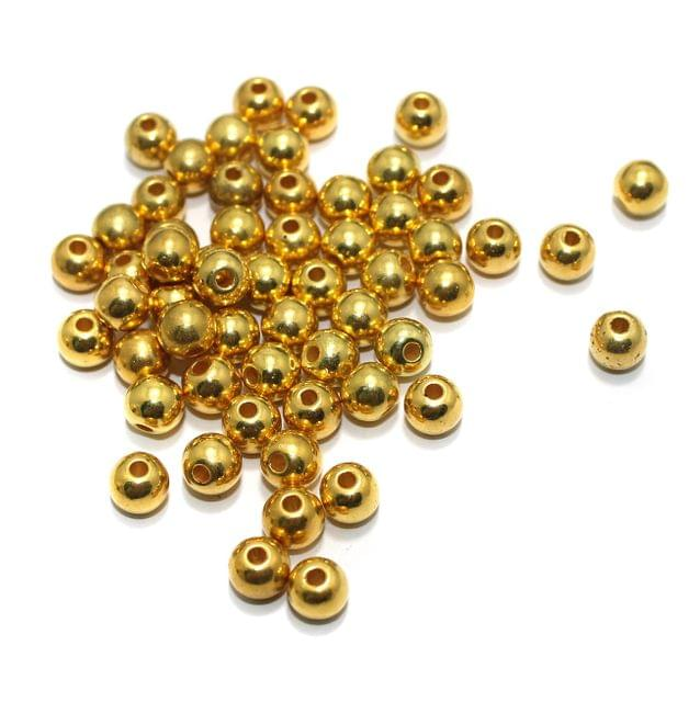100 gm CCB Beads Round Golden 8mm