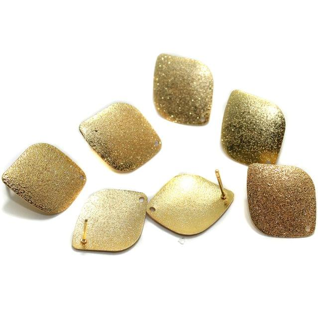 20 Pcs Earrings Components Golden Matte 25x20mm