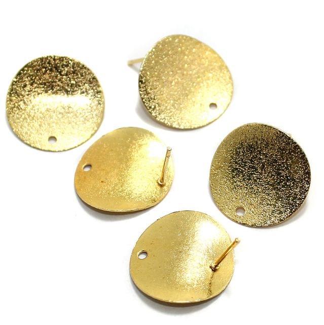 20 Pcs Earrings Components Golden Matte 20x20mm