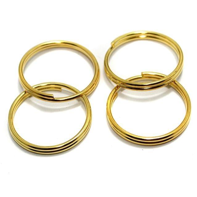 25 Pcs Golden Key Chain Rings 25mm