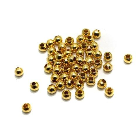 100 gm Golden Metal Balls 3mm, Approx 1950 Pcs
