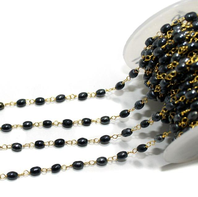 1 Mtr Glass Beaded Chain Gun Metal