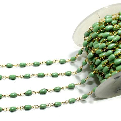 1 Mtr Glass Beaded Chain Parrot Green