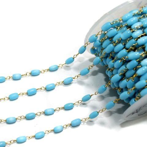5 Mtrs Glass Beaded Chain Turquoise