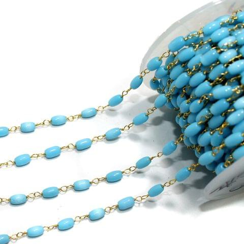 1 Mtr Glass Beaded Chain Turquoise