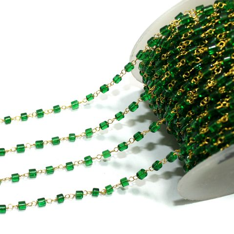 5 Mtrs Glass Beaded Chain Green