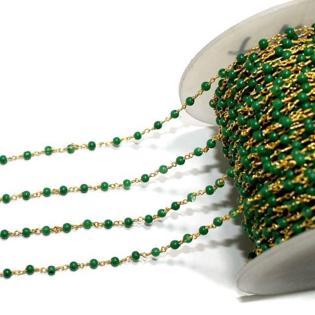 1 Mtrs Glass Beaded Chain Green