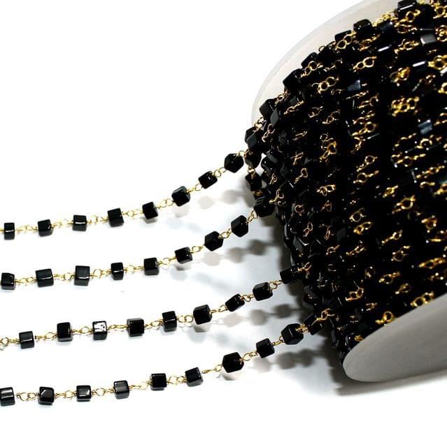 1 Mtr Glass Beaded Chain Black