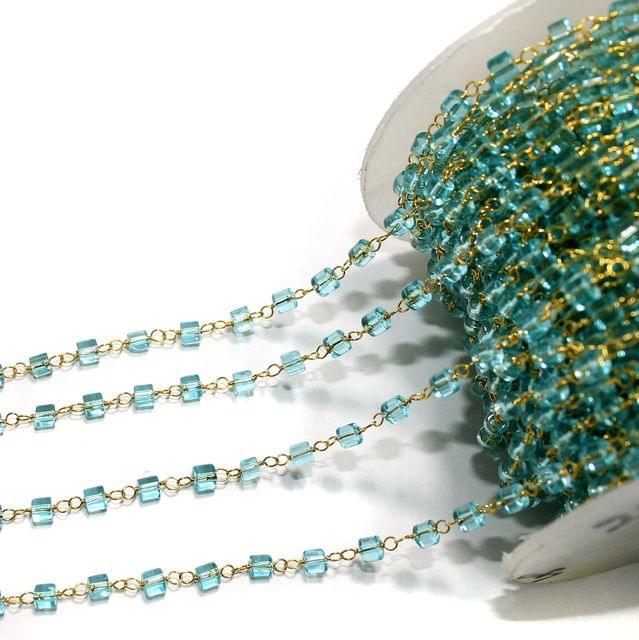 1 Mtr Glass Beaded Chain Sky Blue