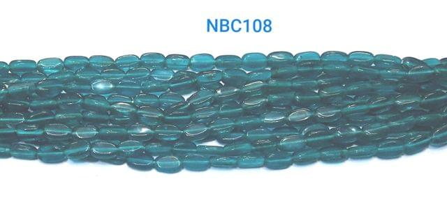 Glass Beads Oval Teal color 10x6 mm , 5strings , 150 beads / string