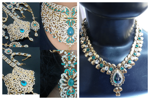 Indian Blue Wedding Bridal Gold Tone Jewelry Set Earrings Costume Indian Bollywood