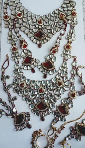 Maroon Kundan Indian-Maroon -wedding-bridal-gold-tone-jewelry-set-earrings-costume-indian-bollywood.8 Pce