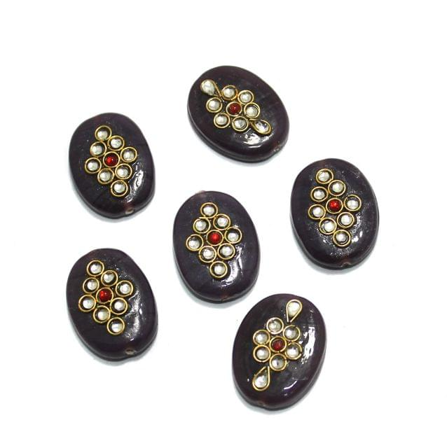 10 Pcs Oval Kundan Beads 24x18mm Dark Brown