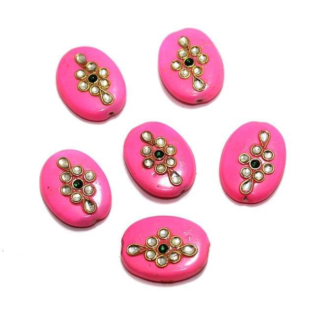 10 Pcs Oval Kundan Beads 24x18mm Pink