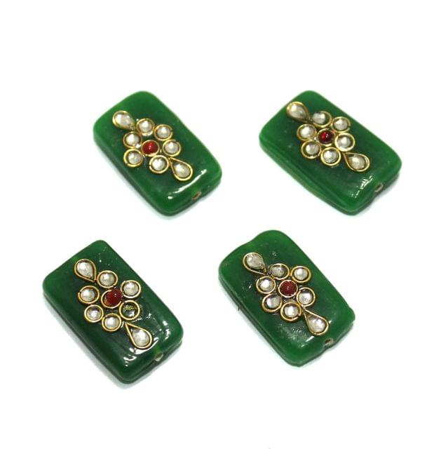 10 Pcs Rectangle Kundan Beads 25x14mm Green