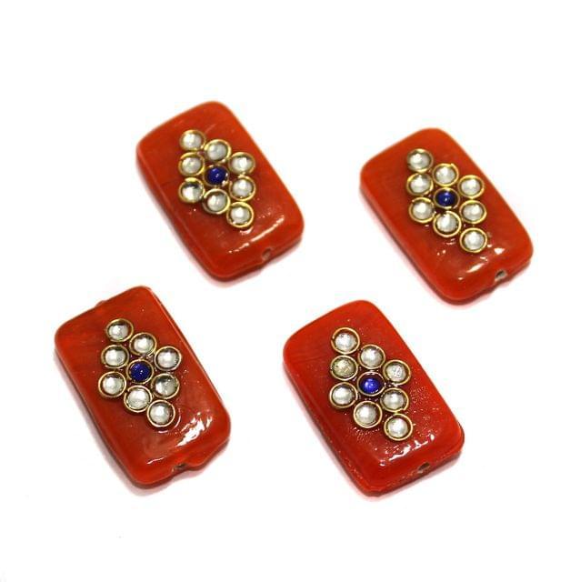 12 Pcs Rectangle Kundan Beads 25x14mm Orange