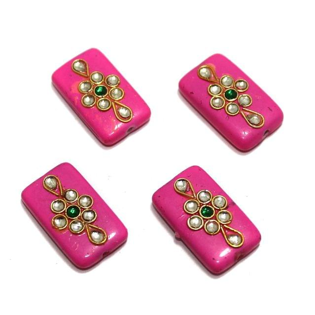 12 Pcs Rectangle Kundan Beads 25x14mm Hot Pink