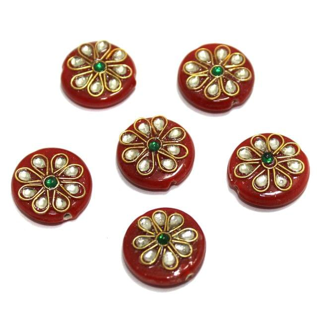 20 Pcs Round Disc Kundan Beads 18x18mm Orange