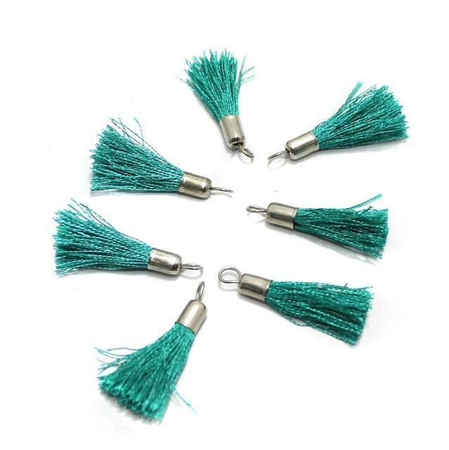 100 Pcs Silk Thread Tassel 1 Inch Teal