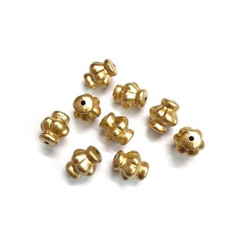 20 pcs, acrylic 12mm golden flower pot shape beads with full hole