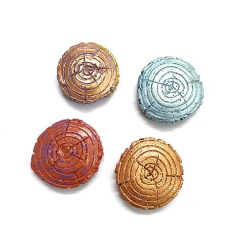 20 pcs, 4 color wood 31mm round shape beads with full hole (5 pcs of each color)