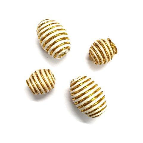 30 pcs, acrylic golden drum barrel 22mm, 12mm shape beads with full hole (15 pcs each shape)