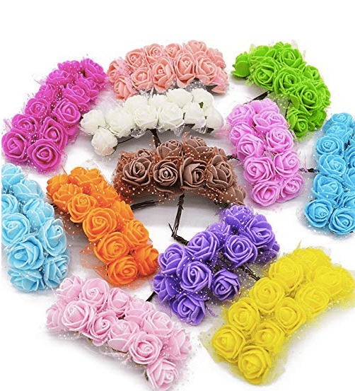 288pcs (24x12), 12 colors assorted foam flowers for jewellery making, tiara making (2cm)