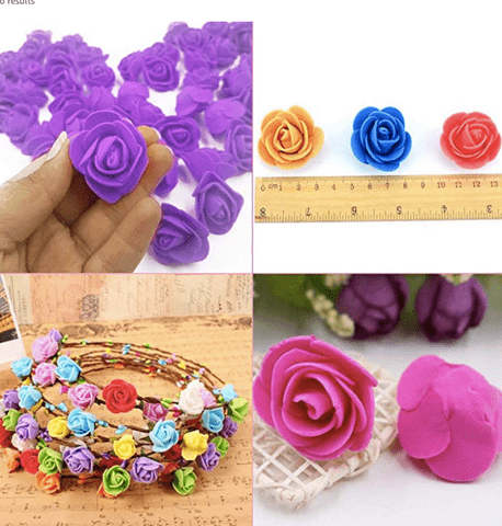 200pcs assorted foam flowers for jewelry and tiara making (2cm)