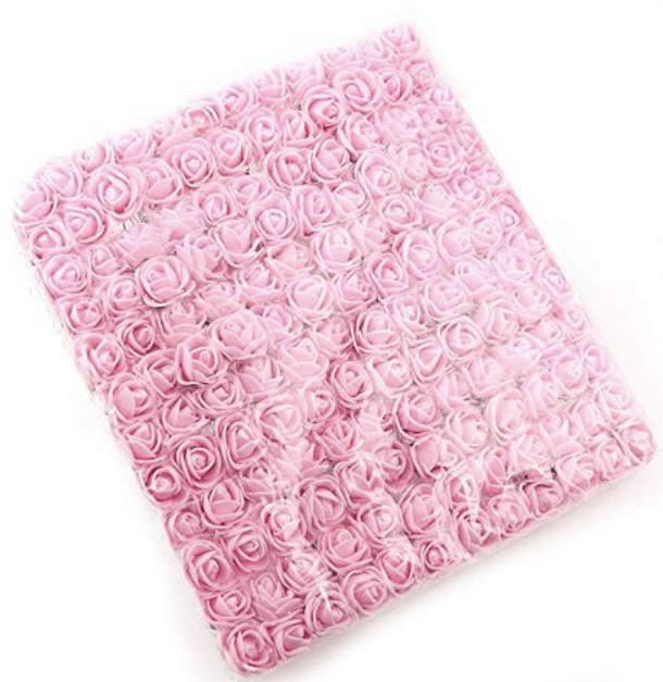 288pcs, baby pink foam flowers for jewellery making, tiara making (2cm)