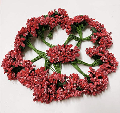 288pcs (24bunchx12pollen), red pollen for jewellery making, tiara making (1bunch=12 pollen)