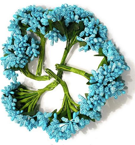 288pcs (24bunchx12pollen), blue pollen for jewellery making, tiara making (1bunch=12 pollen)