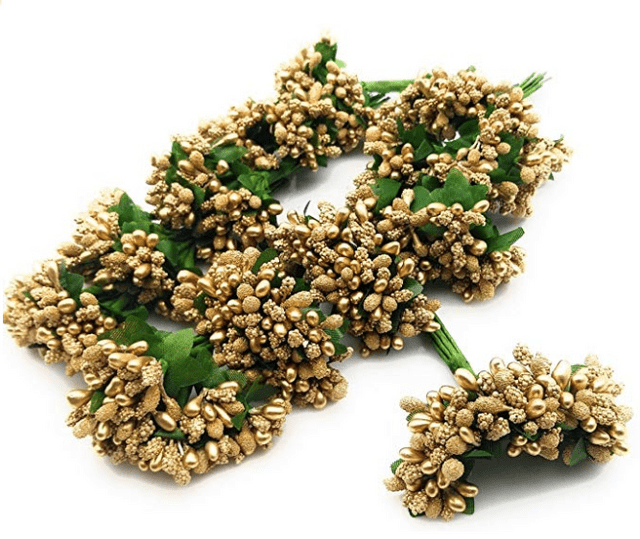 288pcs (24bunchx12pollen), golden pollen for jewellery making, tiara making (1bunch=12 pollen)